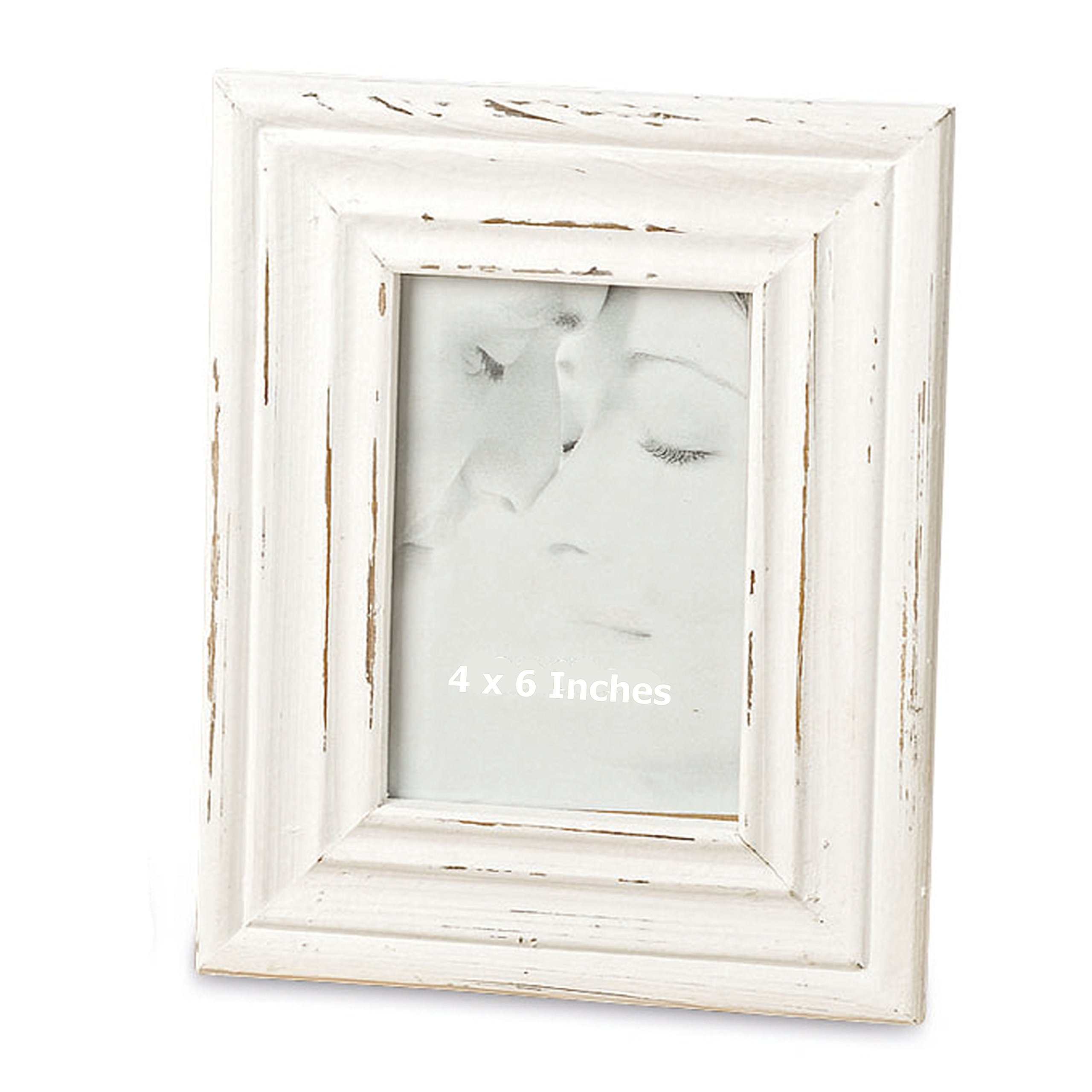 Whole House Worlds The Stockbridge Photo Frame, Rustic Bevels, Creamy White, Vintage Distressed Finish, 7 3/4 x 9 3/4 Inches, 4 x 6 Inch Window, For Table Top Or Wall Display, By