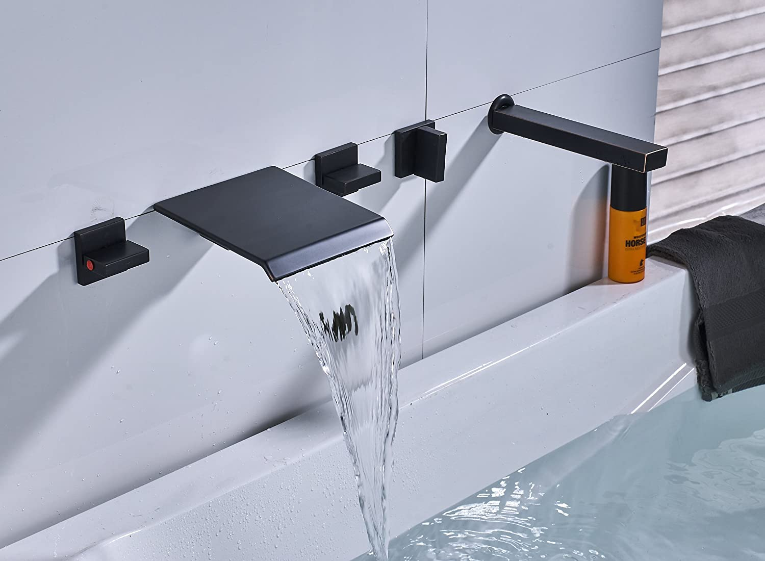 Rozin Wall Mounted Widespread 5 Holes Waterfall Bathtub Faucet with ...