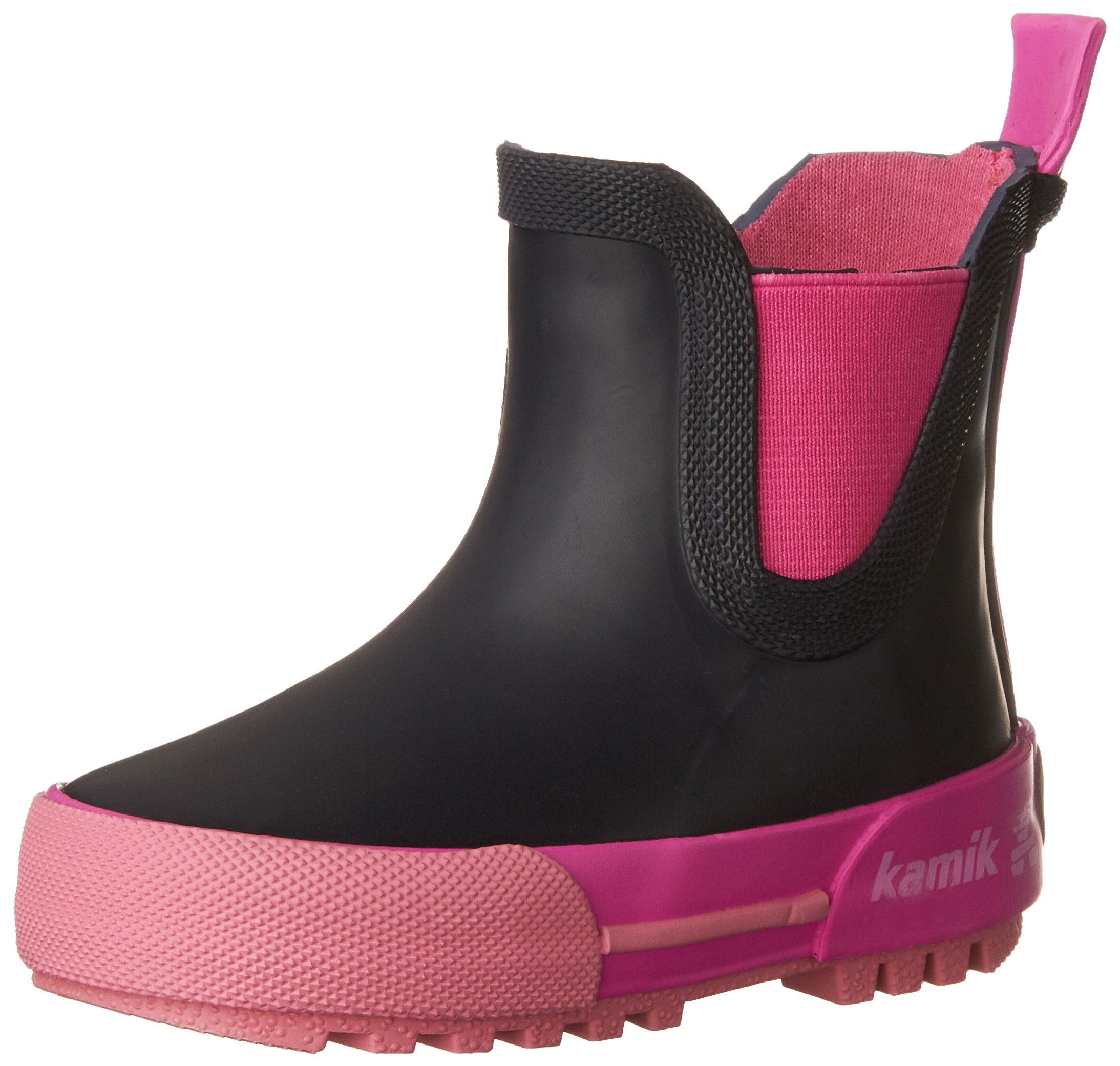 Kamik Girls' RAINPLAYLO/YOUTH/BLA Rain Boot, Navy/Magenta, 12 M US Little Kid