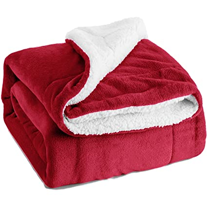 Image Unavailable. Image not available for. Color  Bedsure Sherpa Fleece  Blanket Throw Size Red Plush ... 5510db1b5