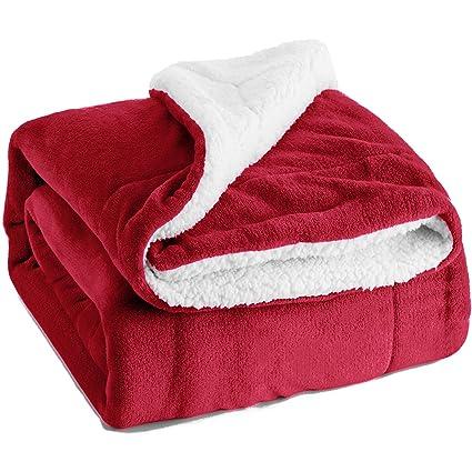 amazon com bedsure sherpa fleece blanket king size 108x90 red plush