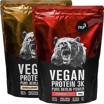 nu3 Proteína vegana 3K - 2kg de fórmula con hasta 70% de proteína a base de 3 componentes vegetales - Proteínas para el crecimiento de la masa ...