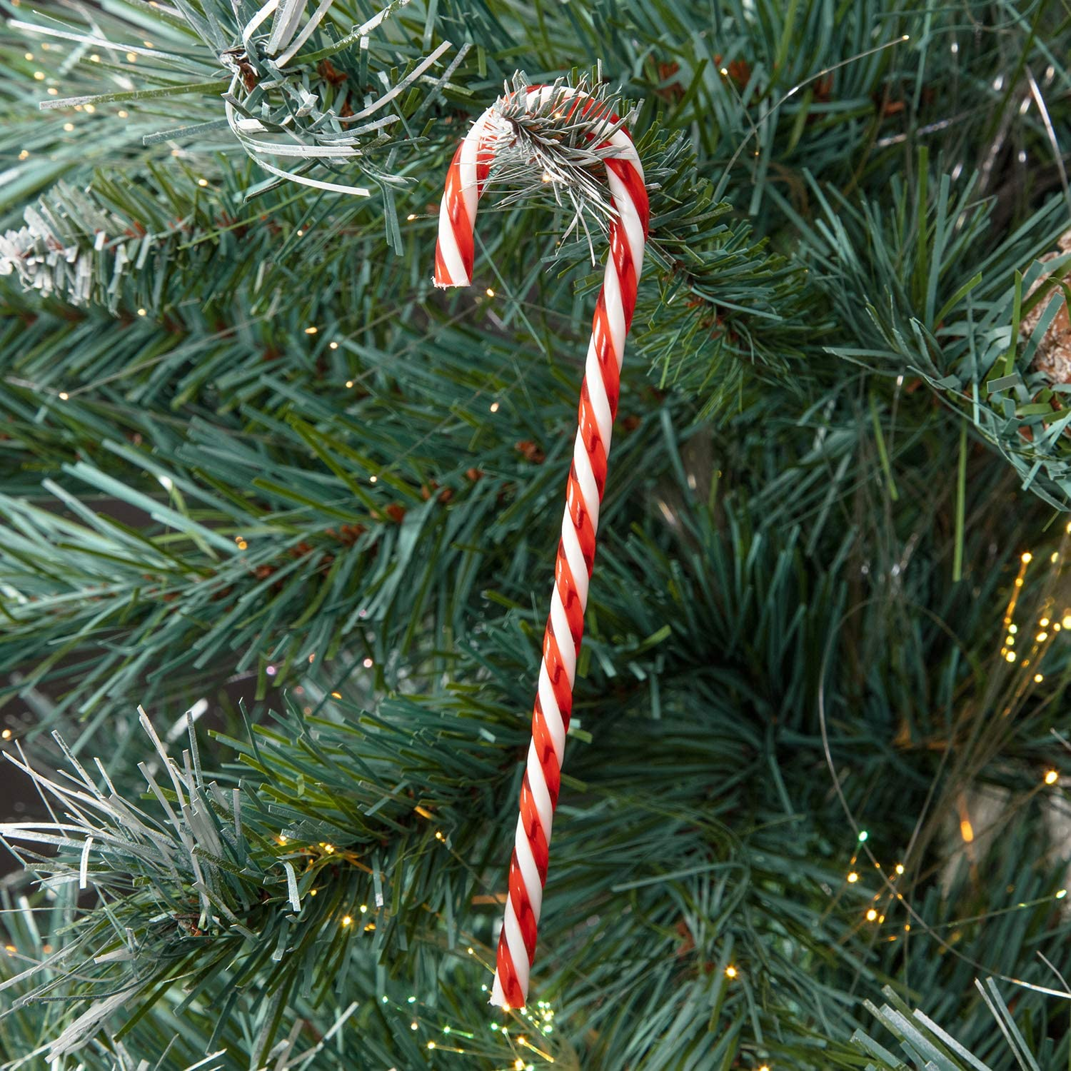 MERRY CHRISTMAS HOUSE 6 COUNT ORNAMENTS DECORATIONS PLASTIC CANDY CANE NEW
