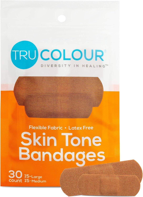 Tru-Colour Skin Tone Assorted Bandages 30-Count, Purple Bag Dark Brown Single Bag