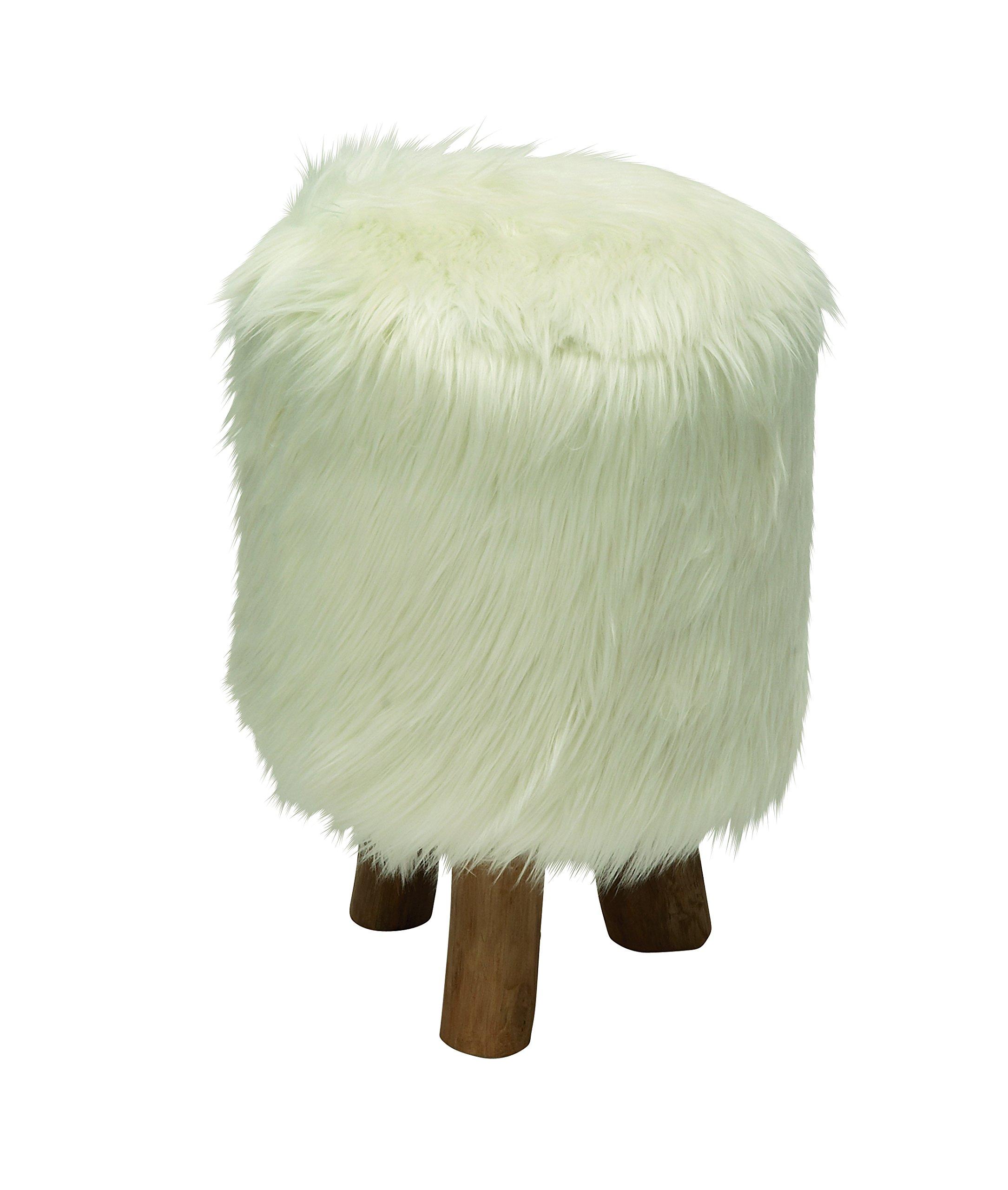 Deco 79 50829 Wood Faux Fur Round Stool, 13'' x 19'', White