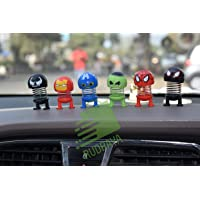 RUDRAYA Car Decoration Cartoon Spring Shake Head for The Hollywood Superhero Toy Adornment Doll Auto Dashboard Ornament|Accessories Gifts|Office Desk Accessories|Return Gift(Pack of 6) (Multicolor)