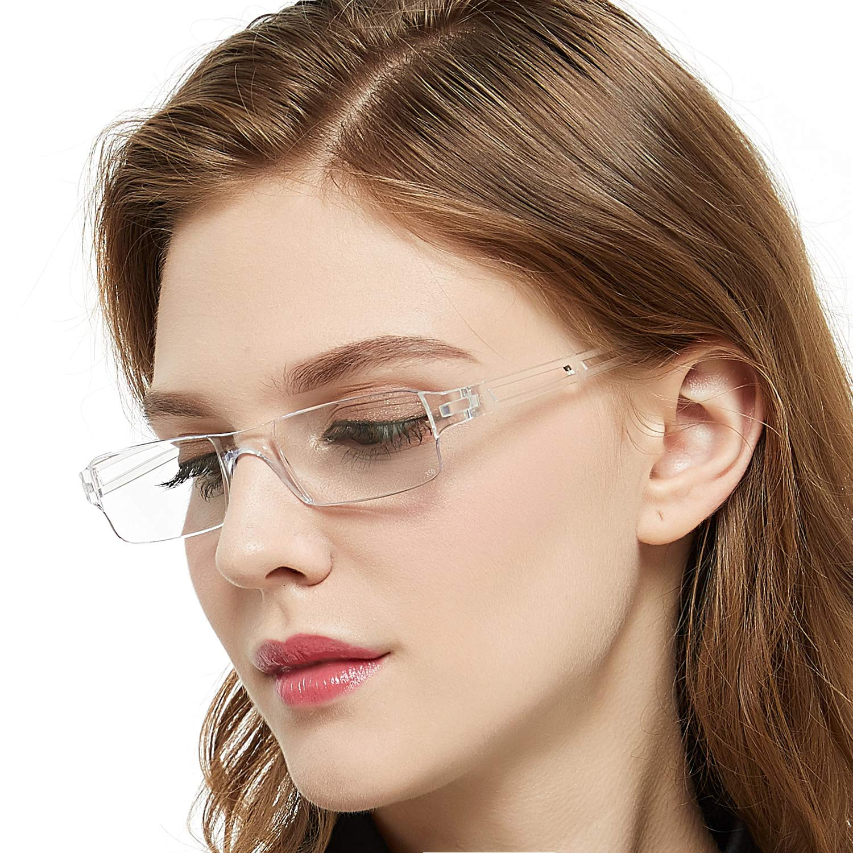 Reading Glasses Rimless Men Women Comfort Prescription Eyeglasses Transparent Eyewear (Red, 400) China