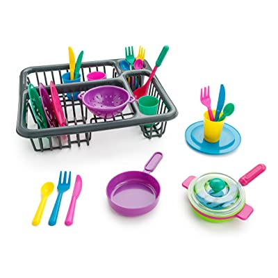 Playkidiz Super Durable Play Dishes - Pretend Play Children's Dish Set - 27 Pieces Plates, Cups and Cutlery with Dish Drainer - Great Gift for Kids: Toys & Games