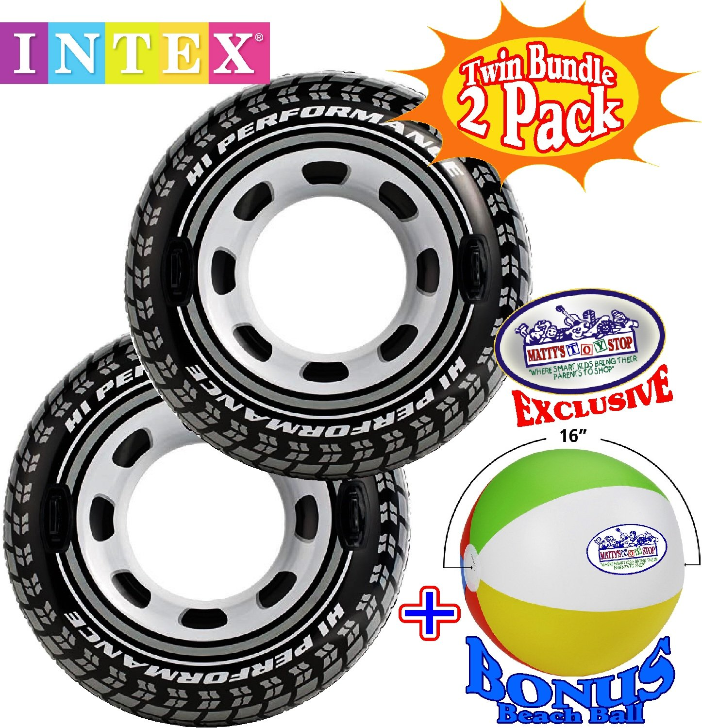 Intex Inflatable Monster Truck Tire Tubes (45'' Diameter) Twin Set Bundle with Bonus ''Matty's Toy Stop'' 16'' Beach Ball - 2 Pack by Intex