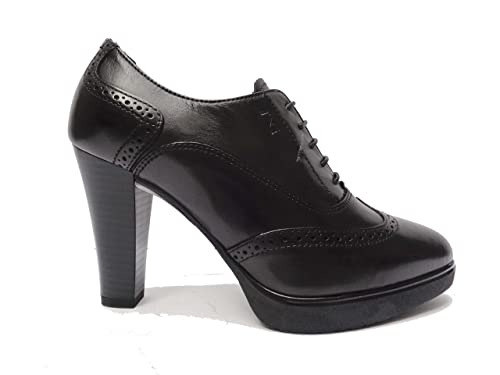 Nero Giardini 19122 scarpe da donna francesine con lacci in pelle Nero tacco  cm. 9 160fbf6538b