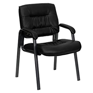 Flash Furniture Black Leather Executive Side Reception Chair with Titanium Metal Frame