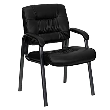 Fabulous Flash Furniture Black Leather Executive Side Reception Chair With Titanium Metal Frame Pdpeps Interior Chair Design Pdpepsorg