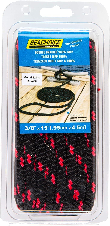 "DOCK LINE MFP 3//8/"" x 15/' BLACK RED FLOATING POLYPROPYLENE ROPE SEACHOICE 42431"