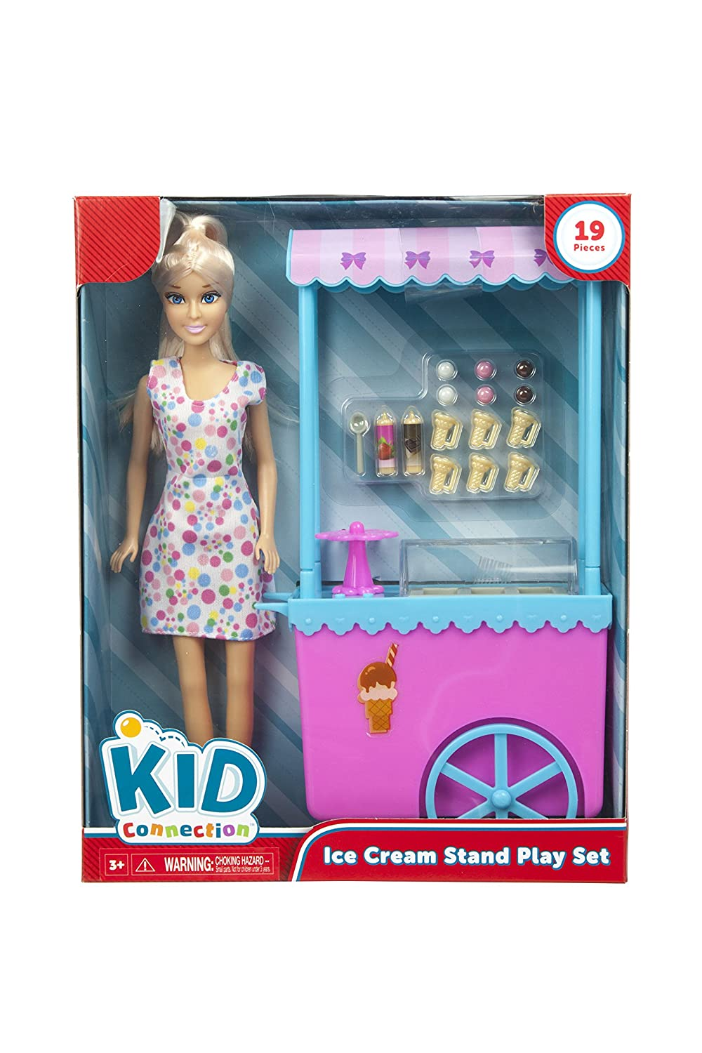 Amazon.com: Kid Connection 19 Piece Doll Ice Cream Stand Pretend ...