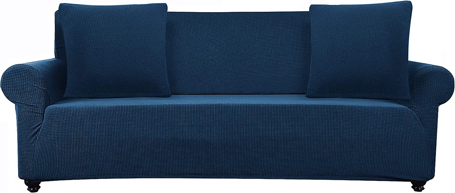 Lumibee Stretchable Sofa Slipcover 1-Piece with 2 Pillow Covers Chair Couch Furniture Protector Soft with Elastic Bottom Anti-Slip Foam Great for Pets, Spandex Jacquard Fabric (Navy, 3 Seater)
