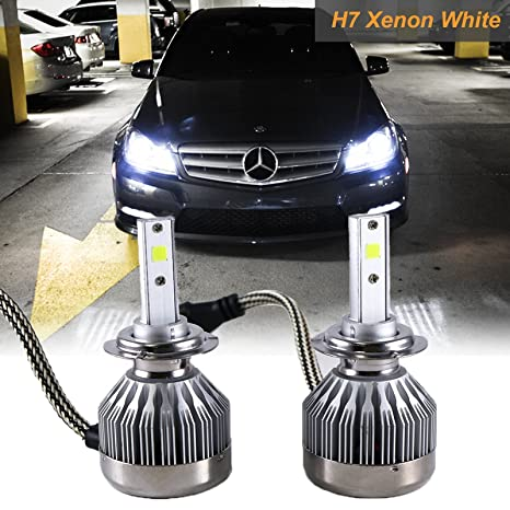 Amazon com: H7 6000K White COB LED Headlight Bulbs