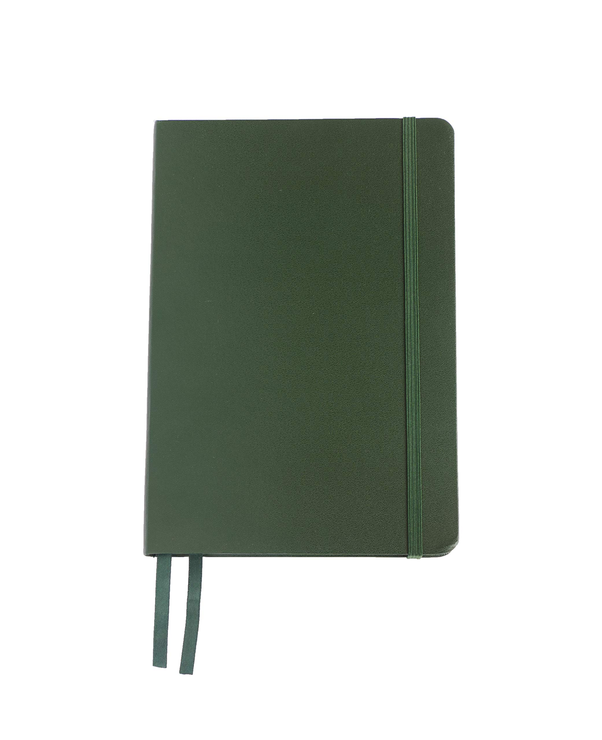 Sprouted Pig - Dotted Journal Notebook, 220 pages, Hard Cover Vegan Leather, Inner Pocket, Quality Paper - 100 gsm (Green)