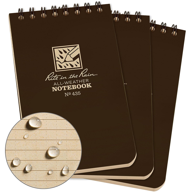 Rite in the Rain all-weather top-spiral notebook Universale 3 x 5 Tan 3/pezzi Motivo pagine modello universale 7,6/x 12,7/cm