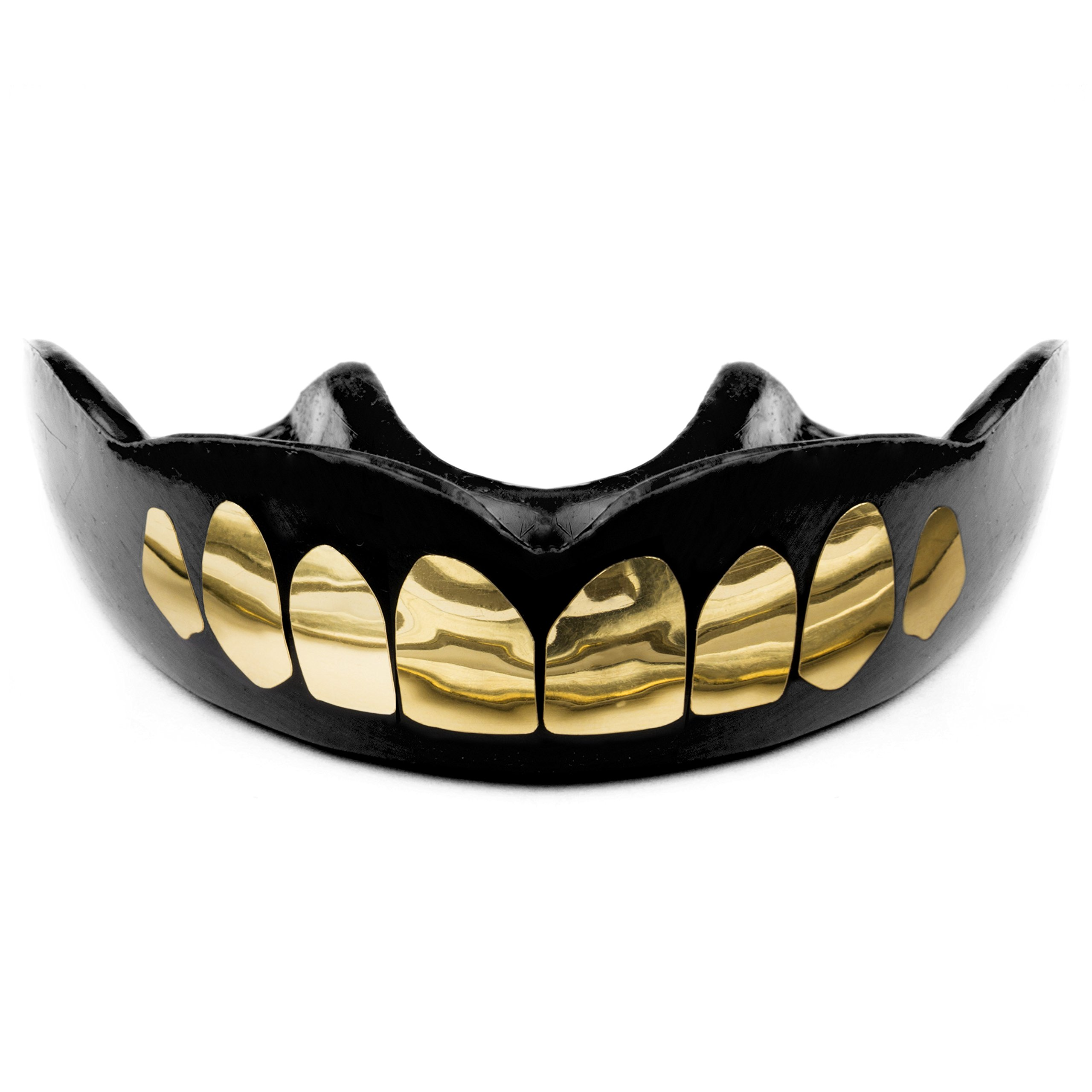 Warrior Mouthguards - Teeth Print Moldable Mouth Guard with Case for Youth and Adults (Gold Teeth, Adult)