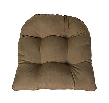 Sunbrella Canvas Heather Beige Wicker Chair Cushion   Indoor / Outdoor 1  Tufted Wicker Chair Seat