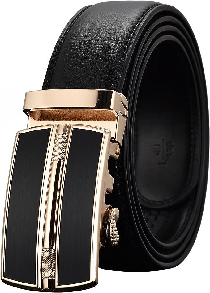 Tiitc Mens Belt Genuine Leather Ratchet Belts for Men Automatic Buckle 1.38''