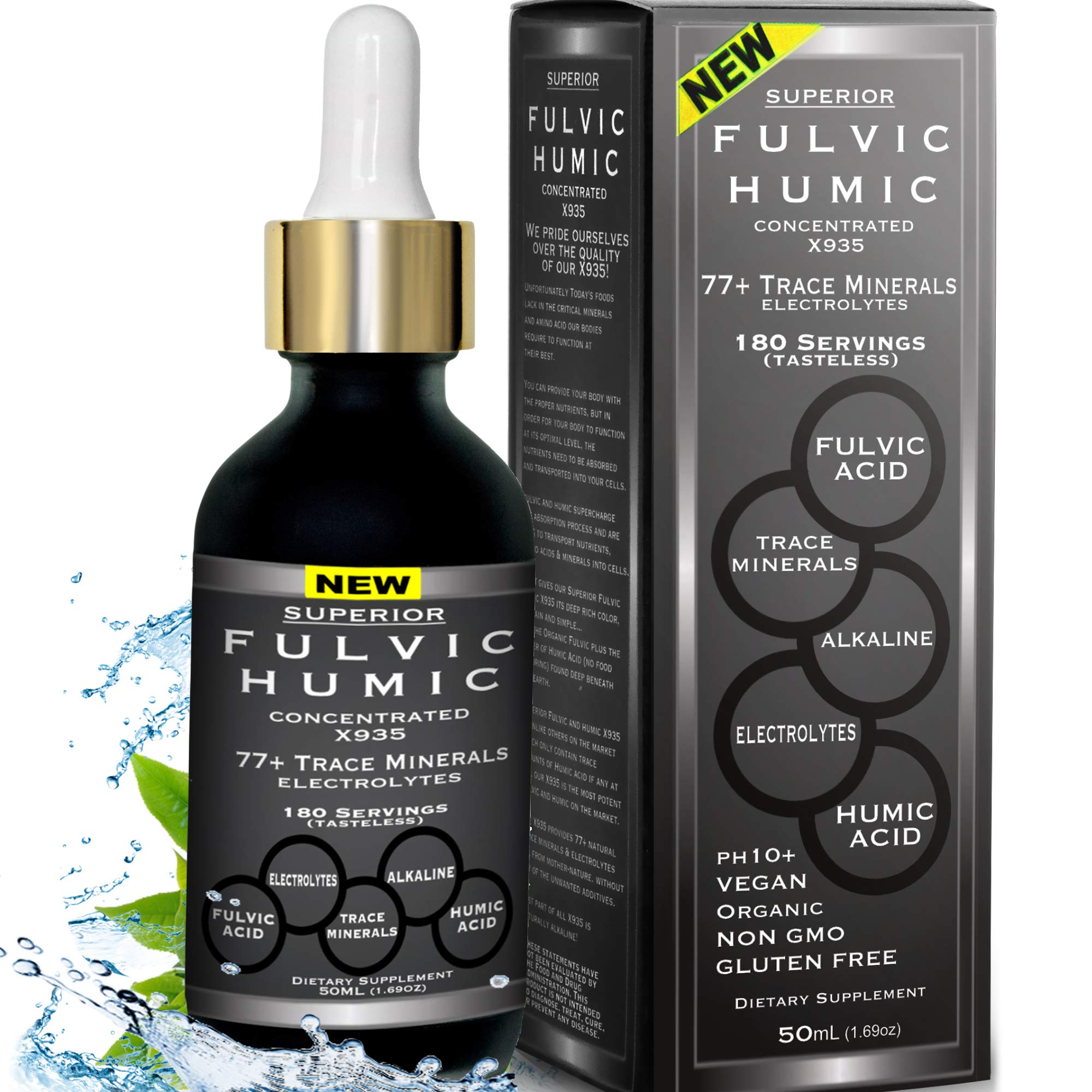Fulvic Acid and Humic Acid Trace Mineral Drops 6 Month Supply, Electrolyte Energy Boost. All Natural Organic Plant Derived Blend of Ionic Trace Minerals from Fulvic and Humic Acid Similar to Shilajit by Superior Fulvic Humic Concentrated X935