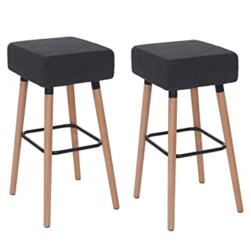Mendler 2X Tabouret de Bar Stirling, Chaise de comptoir, Tissu ~ Gris foncé ee1d29b0b428