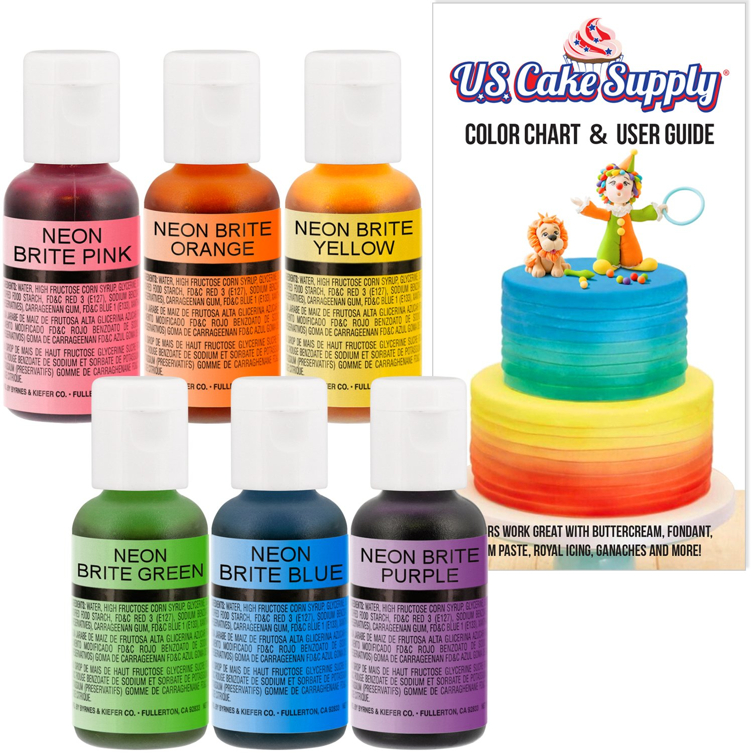 U.S. Cake Supply by Chefmaster Airbrush Cake Neon Color Set - The 6 Most Popular Neon Colors in 0.7 fl. oz. (20ml) Bottles - Safely Made in the USA product