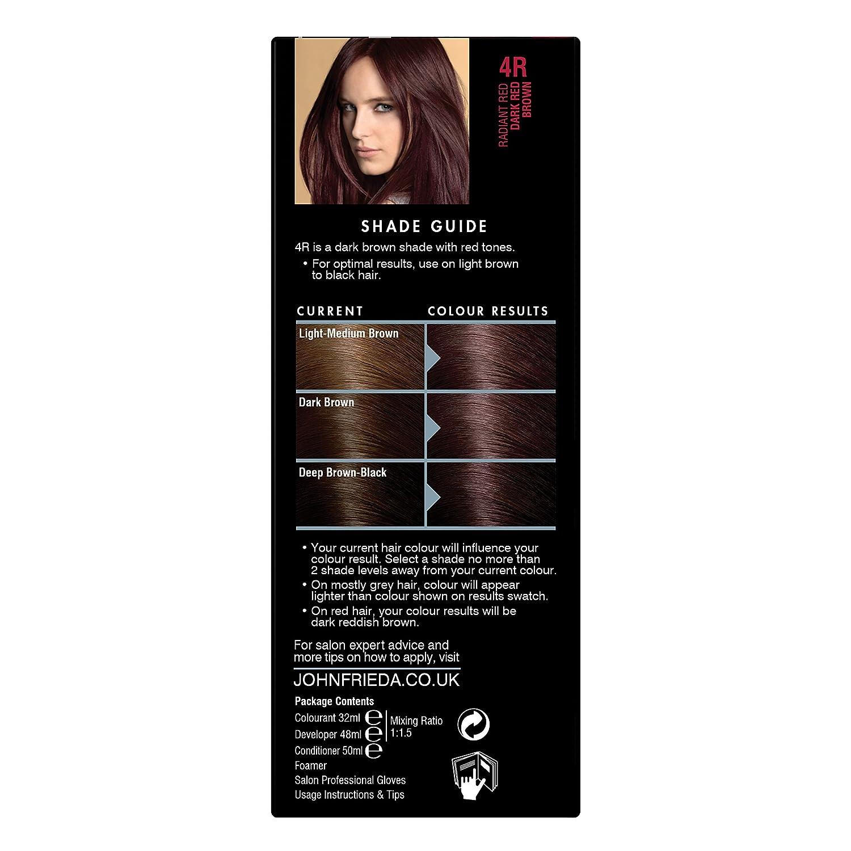 John Frieda Precision Foam Colour Hair Dye Number 4r Dark Red Brown