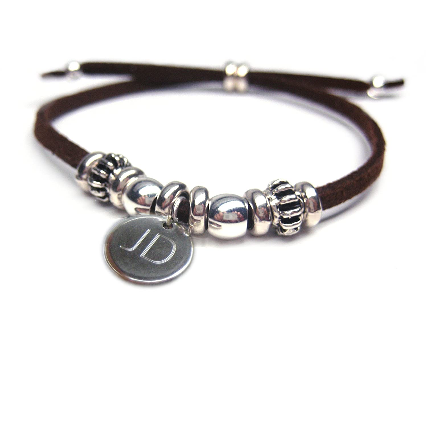 India BOYS PERSONALISED Bracelet-BROWN-Gift-Birthday-Suede-Christmas-Fathers day Aye Do Ltd INBPB-BR