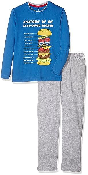 Lenny Sky EG.Food.PY2.MZ-Conjuntos de Pijama Niños Azul (Bleu/Gris Chine Bleu/Gris Chine) 12 años: Amazon.es: Ropa y accesorios