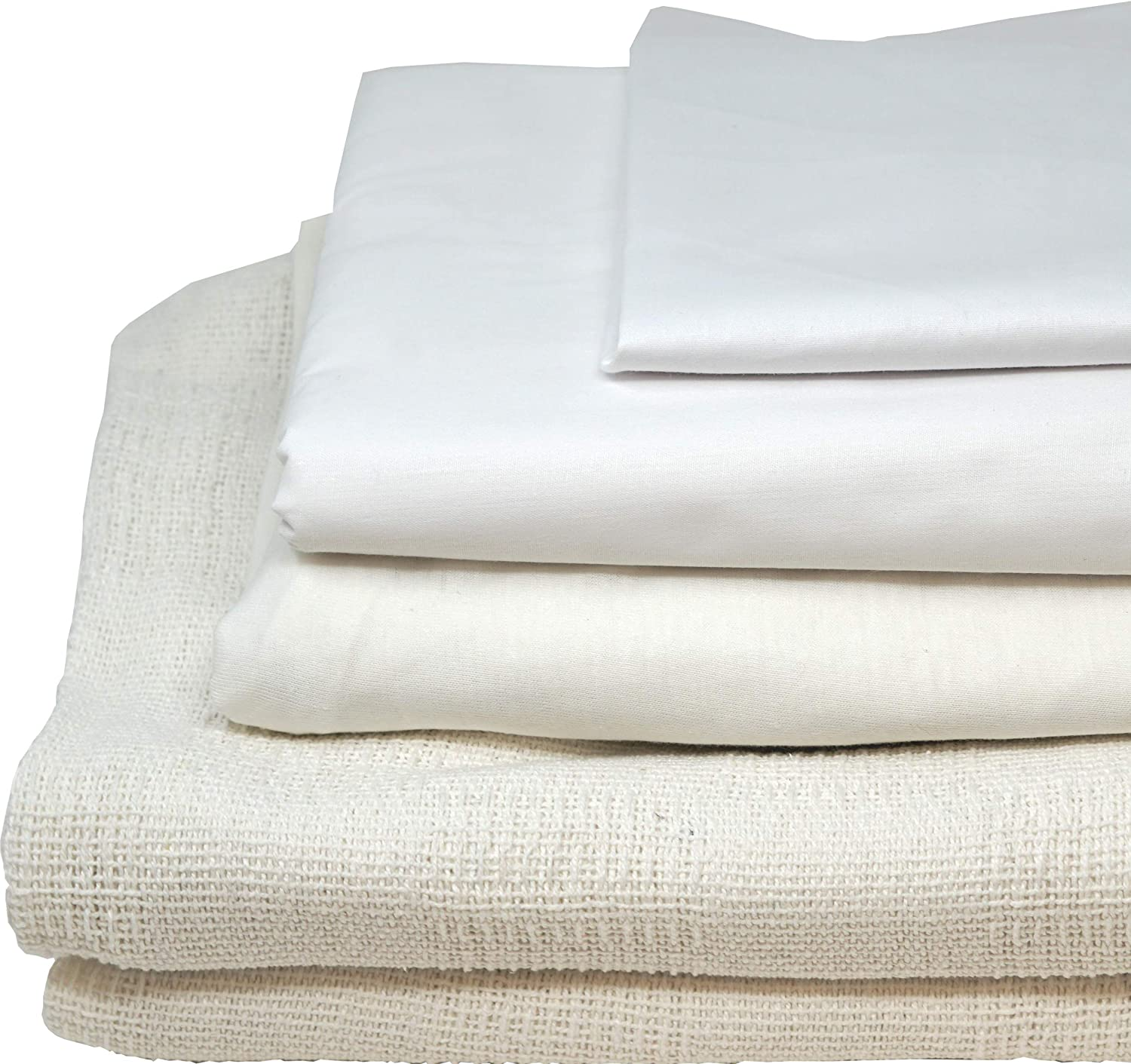Careoutfit All in One Hospital Bed in a Bag, Top Sheet, Bottom Sheet, Pillow Case and Blanket, White Premium