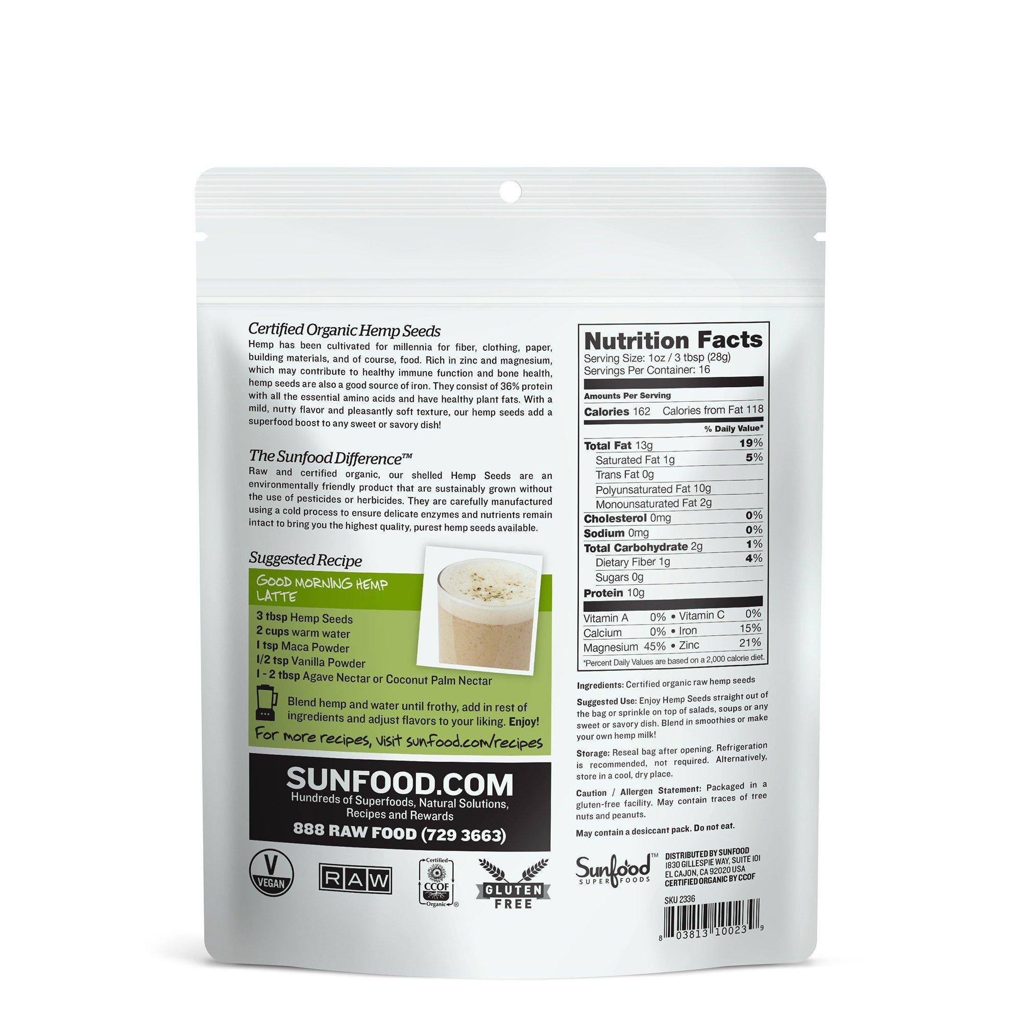Sunfood Hemp Seeds, Shelled, 1lb, Organic, Raw by Sunfood (Image #1)