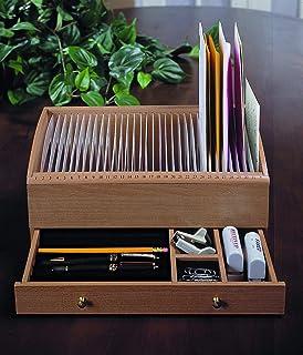 Mahogany Dark Brown JUMBL/™ 17-31 Slot Wooden Bill//Letter Organizer With Drawer
