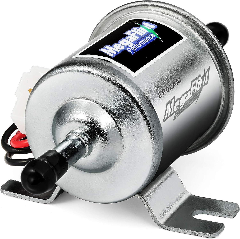 Gold-12V QIDIAN New Gas Diesel Fuel Pump Inline Low Pressure Electric Fuel Pump 12V 24V Universal for Carburetor Engine HEP-02A Aluminum Alloy