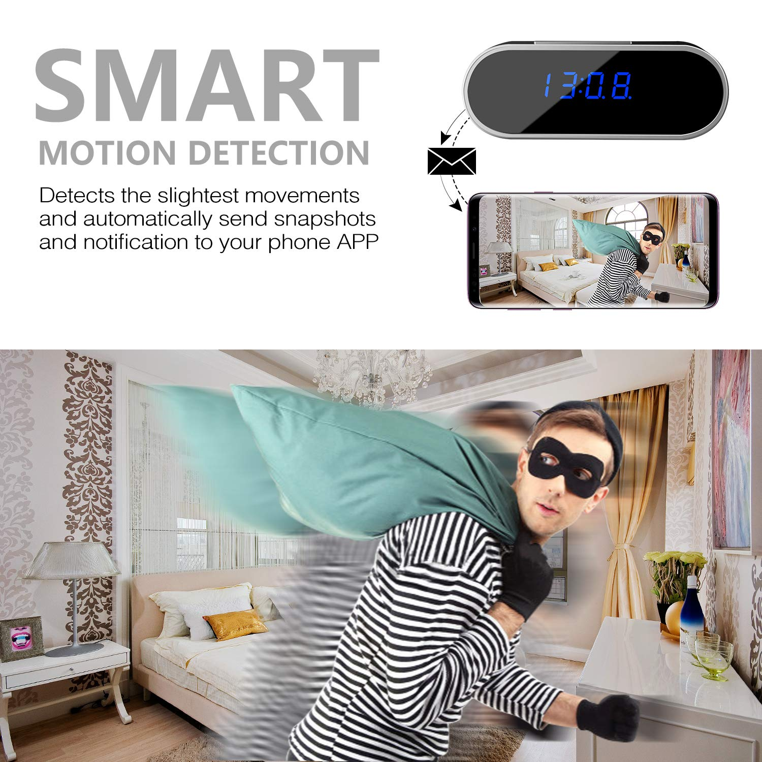 Wifi Hidden Spy Camera Clock Full Hd 1080p Wireless Country Boots Zongos Nanny Cam With Motion Detection Night Vision Loop Recording Real Time Video