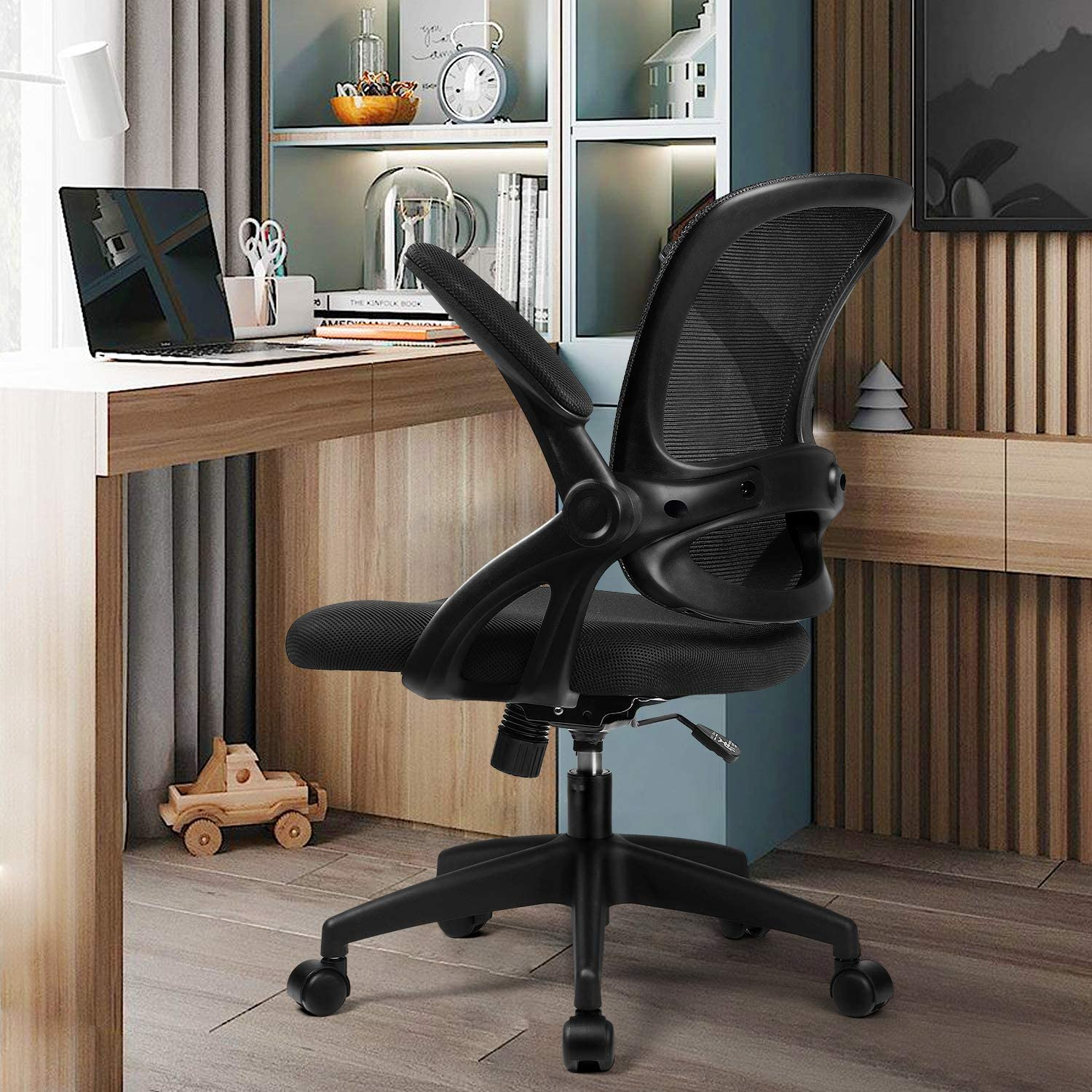 Comhoma Office Chair Ergonomic Desk Chair Mesh Computer Chair with Flip Up Armrest,Mid Back Task Home Office Chair,Swivel Chair with Smooth Casters,Black
