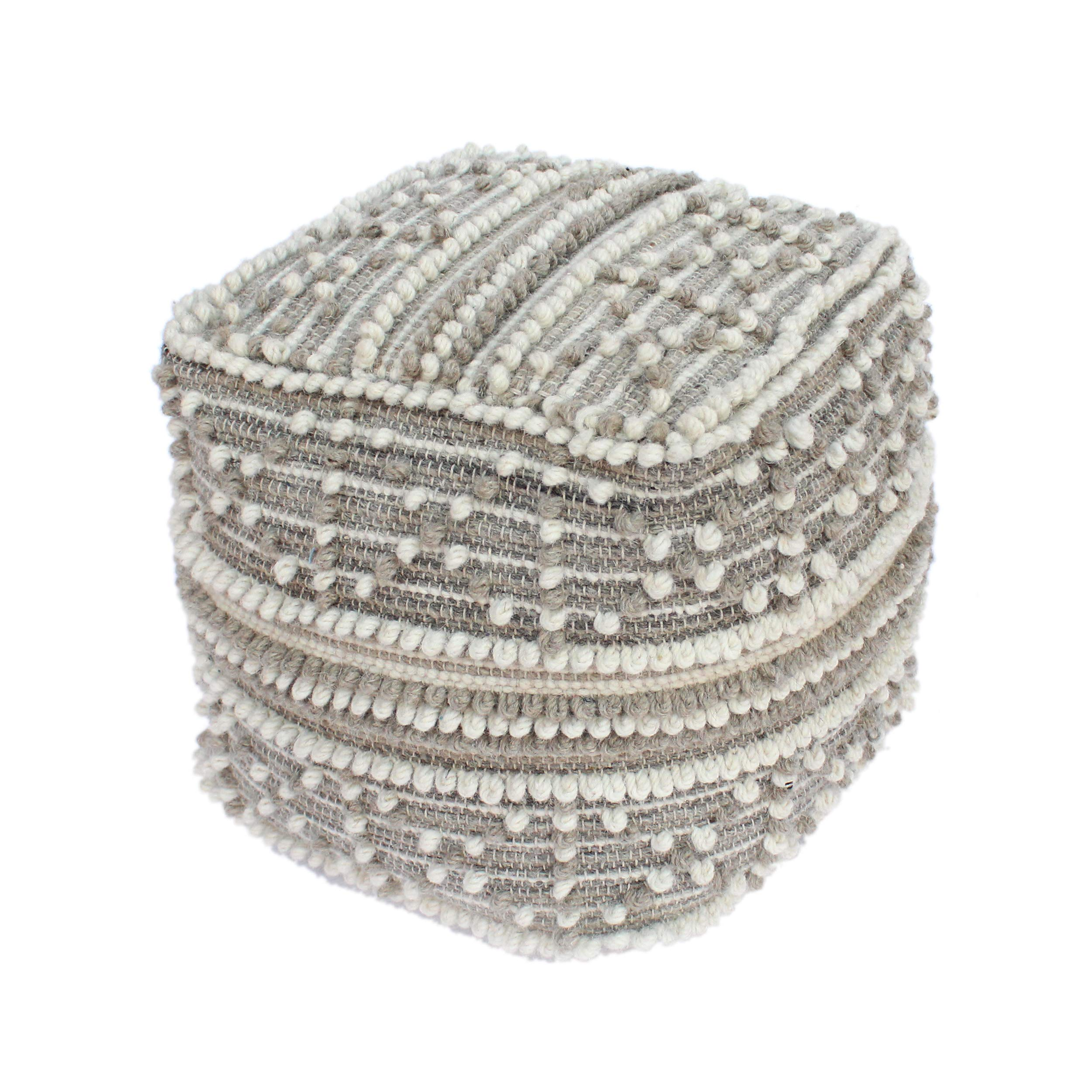 Great Deal Furniture Ishara Boho Cube Wool and Cotton Pouf, White and Beige by Great Deal Furniture