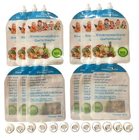 12 Unidades reutilizables quetschb Incluso Para Rellenar absorber – libre de BPA & PVC – Congelador & apto para lavavajillas – Bebés y Niños Pequeños ...