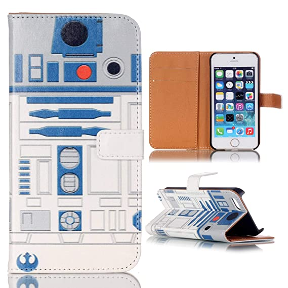 Iiphone Se Wallet Case, iPhone 5S Flip Case, R2D2 Robot Pattern Slim Wallet  Card Flip Stand PU Leather Pouch Case Cover for Apple iPhone 5 5S iPhone