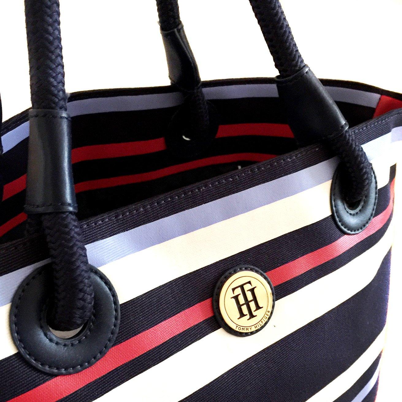 1270e5577 Tommy Hilfiger Womens Large Signature Stripe Canvas Tote Beach Bag Handbag:  Amazon.co.uk: Shoes & Bags