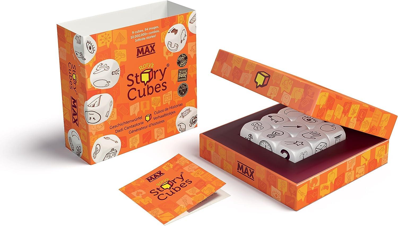 Story Cubes Max - Inglés, Castellano, Frances, Italiano, Alemán, Holandés - Juego de dados, 1 o más jugadores