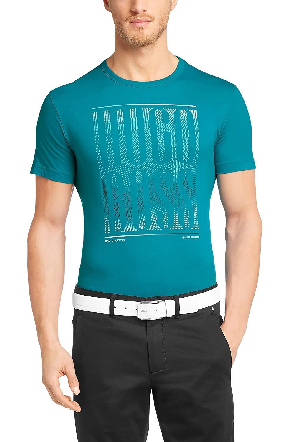 7e7219fd935d Amazon.com  Hugo Boss Men s Short Sleeve Cotton T-Shirt  Tee 12  -Teal   Clothing