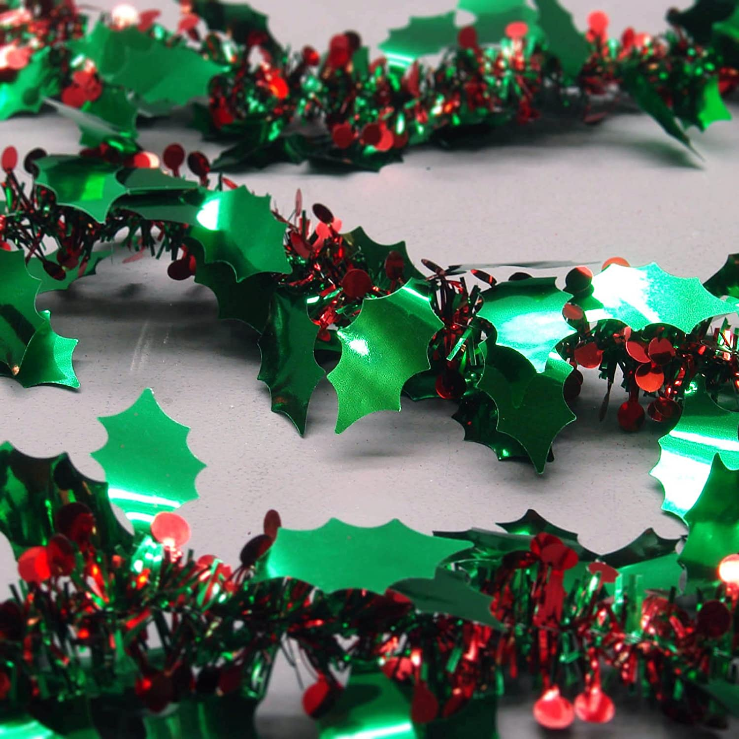 (018) green holly tinsel RED berries Christmas tree decoration card hang