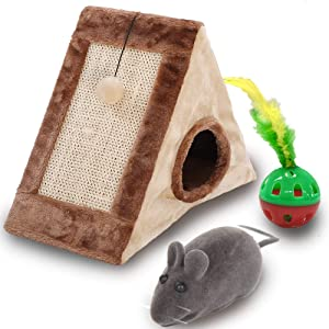 Stoiphy Cat House/Cave & Scratching Post Plus Interactive Toys, Ball with Bell and Feather and Squeaky Mouse, Cat Furniture