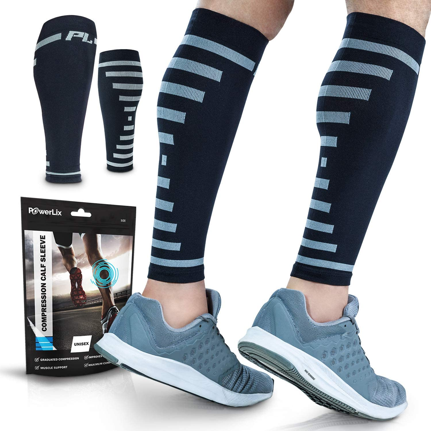 PowerLix Calf Compression Sleeve (Pair) – Supreme Shin Splint Sleeves for Men & Women – 20-30 mmHg