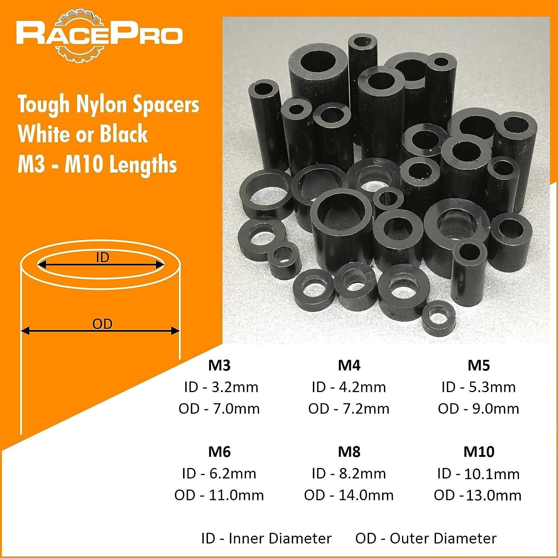 RacePro - 10x Black Tough Nylon Plastic Spacers Standoff Washers, M8 5mm Length