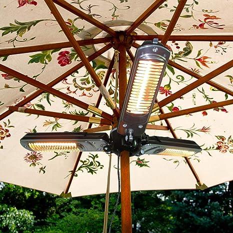 Parasol eléctrico para Patio, con 3 Paneles de calefacción para ...