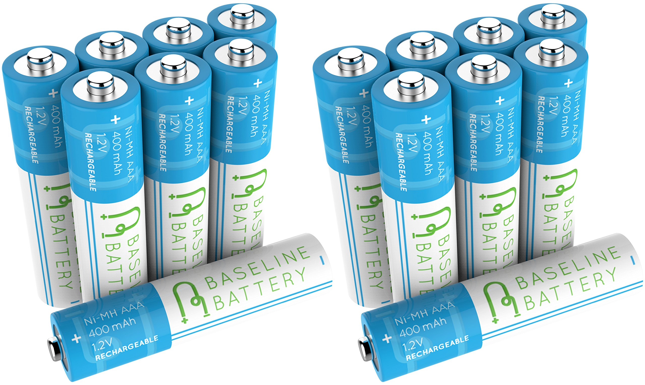 16 AAA 400mAh Ni-MH Rechargeable Batteries Baseline Battery 1.2V for Garden Solar Light, Remotes, small appliances