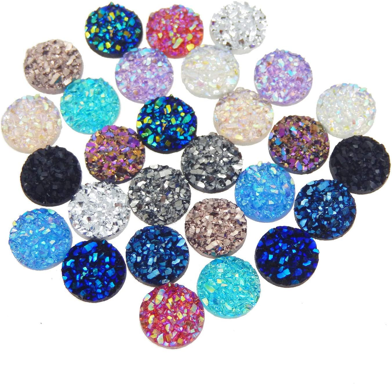8mm Alysee 200 Pieces Multi-color Round Resin Cabochon Flatback Druzy Iridescent Colorful Cabochons DIY Accessories